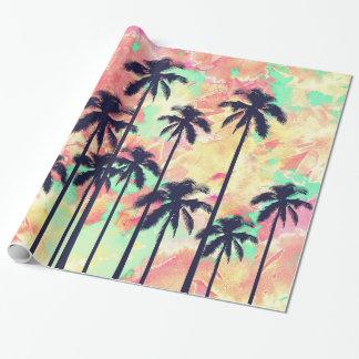 Papier Cadeau Aquarelle au néon colorée avec les palmiers noirs