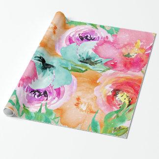 Papier Cadeau Aquarelle florale colorée lumineuse moderne chic