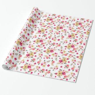 Papier Cadeau Aquarelle rose florale