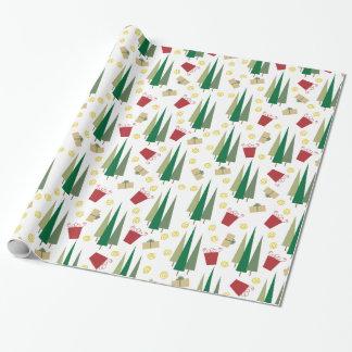 Papier Cadeau Arbre de Noël et motif de cadeaux rétro