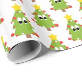 Papier Cadeau Arbre de Noël heureux