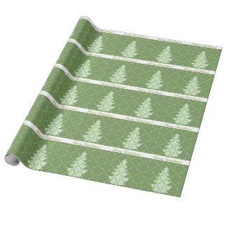 Papier Cadeau Arbre de Noël vert de motif de damassé
