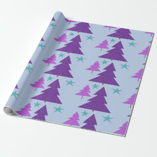 Papier Cadeau Arbres de Noël Digitals pourpres