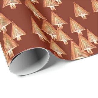 Papier Cadeau Arbres de Noël métalliques modernes - cuivre