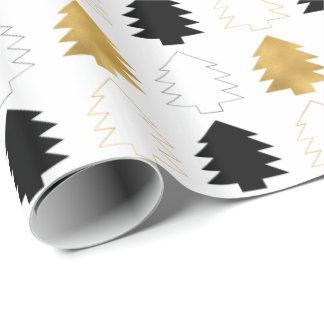 Papier Cadeau Arbres de Noël noirs d'or