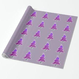 Papier Cadeau Arbres de Noël peu précis pourpres