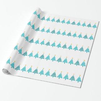 Papier Cadeau Arbres de Noël turquoises modernes sur le blanc