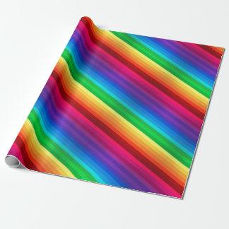 Papier Cadeau Arc-en-ciel diagonal coloré unique dépouillé