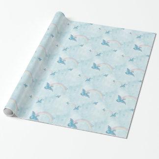 Papier Cadeau Arc-en-ciel d'oiseau bleu - nuages bleus