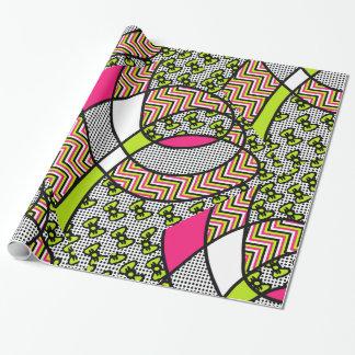 Papier Cadeau Arcs au néon, pois, et zigzag de motif génial