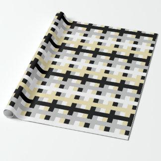 Papier Cadeau Argent abstrait, blanc, beige et noir