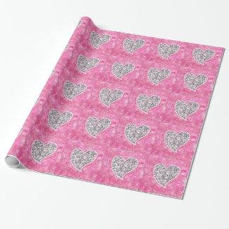 Papier Cadeau Argent et coeurs scintillants de rose