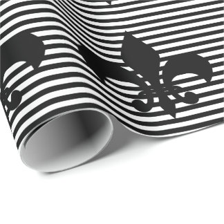 Papier Cadeau arrière - plan Fleurs-De-lis rayé noir et blanc