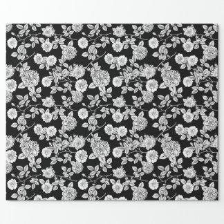 Papier Cadeau Arrière - plan floral blanc vintage du noir |
