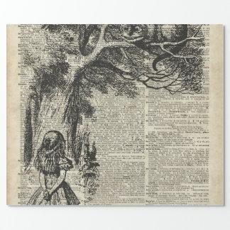 Papier Cadeau Art d'Alice et de pochoir de Cheshire à la page de