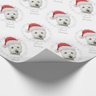 Papier Cadeau Art de chien de Westie de Noël