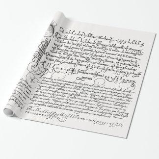 Papier Cadeau Art italien de cru de calligraphie d'écriture