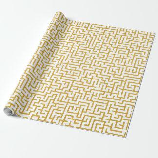 Papier Cadeau Art moderne de labyrinthe élégant - or et blanc