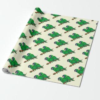 Papier Cadeau art vert d'amour de perroquet d'ara