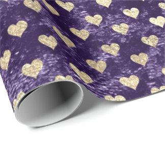 Papier Cadeau Aubergine pourpre violette de velours d'or plus
