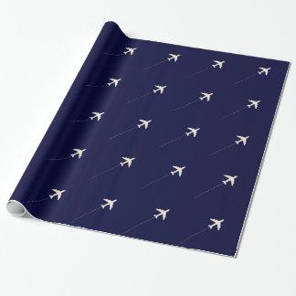 Papier Cadeau avion de voyage avec la ligne pointillée