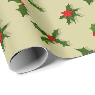 Papier Cadeau Baies de houx de vacances de Noël de couleur de