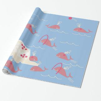 Papier Cadeau Baleines roses frollicking dans le giftwrap