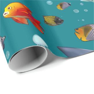 Papier Cadeau Bande dessinée colorée de poissons de mer