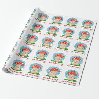 Papier Cadeau bande dessinée drôle de champignon fâché