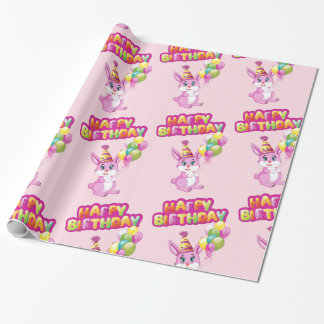 Papier Cadeau Bande dessinée rose d'anniversaire de lapin