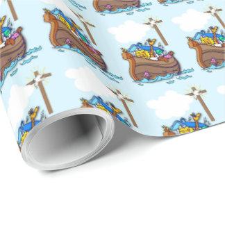 Papier Cadeau Baptême de l'arche de Noé, bleu de garçon