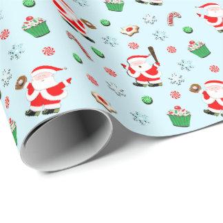 Papier Cadeau Base-ball Père Noël