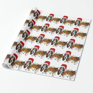 Papier Cadeau Basset embrouillé dans des lumières de Noël