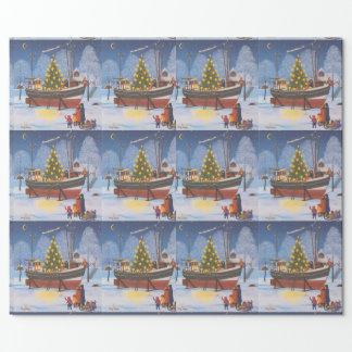 Papier Cadeau Bateau de Noël dans la neige