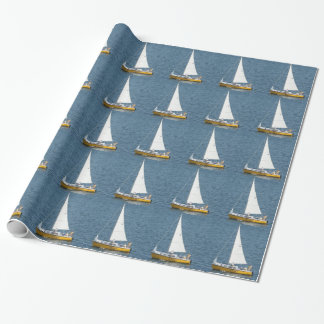 Papier Cadeau Bateaux à voile sur le Golfe, enveloppe de cadeau