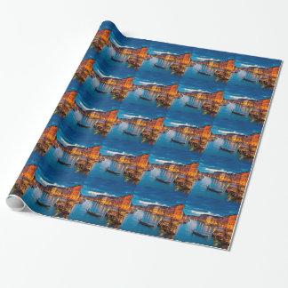 Papier Cadeau Bateaux sur l'eau Venise colorée Italie de canal