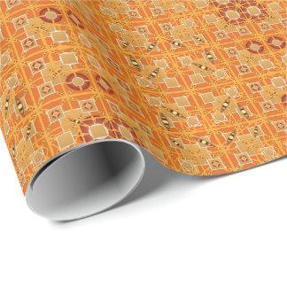 Papier Cadeau Batik tribal - nuances d'ambre et de brun