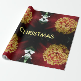 Papier Cadeau beau NOËL rouge de fleur
