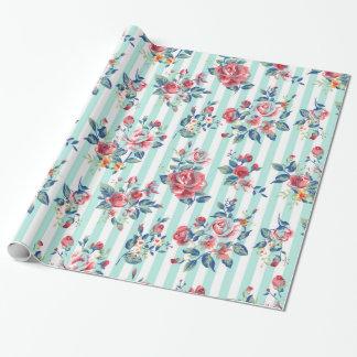 Papier Cadeau Beaux roses vintages girly à la mode de rayures