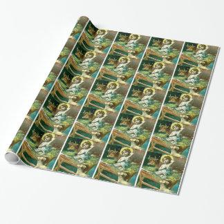 Papier Cadeau Bébé Jésus dans une mangeoire