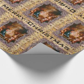 Papier Cadeau Bébé Jésus né pour sauver victorien