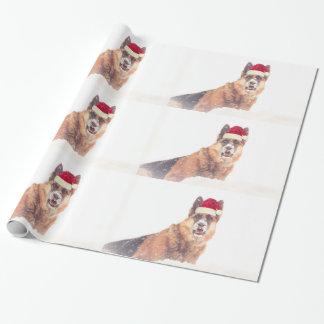 Papier Cadeau Berger allemand dans le papier de cadeau de neige