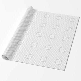 Papier Cadeau Blanc gris Quatrefoil   votre monogramme