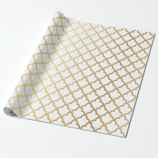 Papier Cadeau Blanc marocain de treillis de feuille d'or moderne
