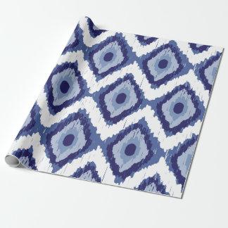 Papier Cadeau Blanc tribal Chevron de diamant d'Ikat de bleu