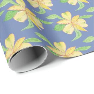 Papier Cadeau bleu avec les fleurs jaunes