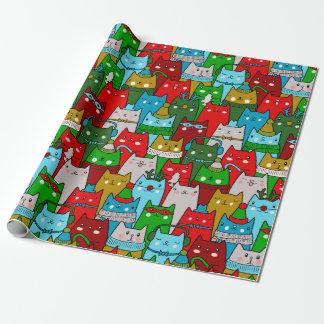 Papier Cadeau Bleu blanc rouge de Noël d'or frais drôle de chats