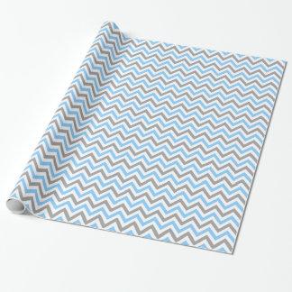 Papier Cadeau Bleu de ciel, motif de zigzag blanc gris du DK