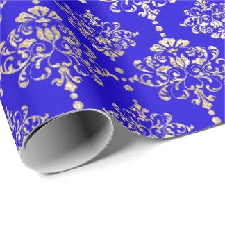 Papier Cadeau Bleu de cobalt lumineux métallique royal de Faux
