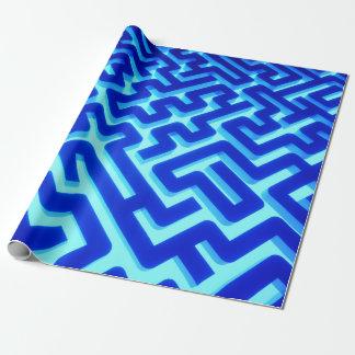 Papier Cadeau Bleu de labyrinthe